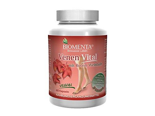 BIOMENTA VENEN VITAL – VEGAN – rotes Weinlaub (Rutin + Quercetin + Flavonoide + Polyphenole) + Grüntee Polyphenole – 60 Venen-Tabletten
