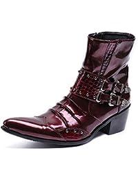 KTYXGKL Otoño E Invierno Nueva Inglaterra Señaló Negocios Altos Zapatos Casuales Zapatos Hombres Manga Botas Martin