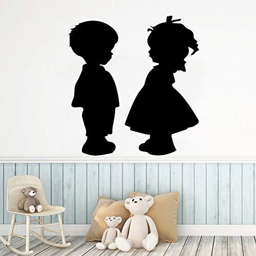 Modeganqingg Adesivi murali Bambino e Ragazza Personalizzati Colla autoadesiva Rimovibile cameretta per Bambini Fai da Te Decorazioni per la casa Nero XL 57 cm X 60 cm