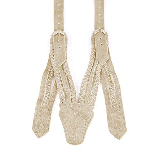 Almbock Trachten Hosenträger Norweger - Lederhosen-Träger mit breiten geflochtenen Lederkordeln,V-Schnitt für Herren Rindsleder silber Schnallen
