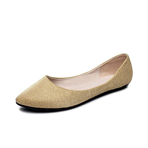 OCHENTA Ballerines Femme Casual Basique A Enfiler Plat Confortable Chaussure Fille Or