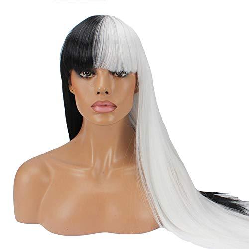 RATWIFE Halloween Perücke schwarz/weiß, cos Perücke Halloween Ghost-Tag Super langes glattes Haar LIU Qi Farbe Perücken
