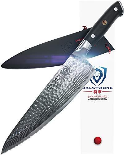 """Dalstrong Cuchillo del chef-Shogun serie X Gyuto - japonés AUS-10V - vacío tratado-martillado acabado - 8""""- con protector"""