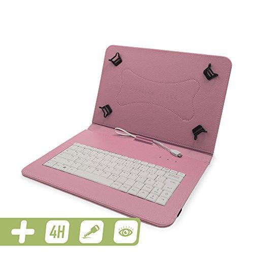 Hülle inkl. Deutscher QWERTZ Tastatur für Samsung Galaxy Tab S4 10.5 und Schutzfolie in ROSÉ [passend für Modell SM-T830, SM-T835] 01 Sm-micro-usb