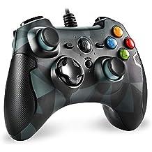 EasySMX Mando para PC, PS3 Gamepad Alámbrico, Joystick con los Botones de Doble-Vibración Turbo y Trigger Compatible con Windows/Android/ PS3/ TV Box (Camuflaje)