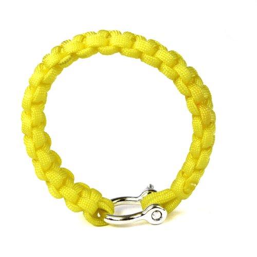 Sansee U Schnalle Seil Armband Freier Notfall Armband Weave 7-schäftig Edelstahl Buckle Flucht (Gelb)