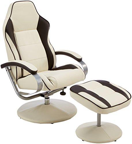 Fernsehsessel Sporting TV Design Relax-Sessel verstellbar Racing Modern Bezug Kunstleder drehbar mit Hocker Racer X-XL 110 kg mit Armlehnen und Hocker Gaming Sessel ohne Motor creme/ braun