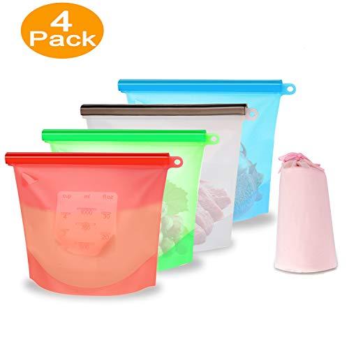 Küche Beutel Silikonbeutel Wiederverwendbar - XREXS BPA Frei Silikon Nahrungsmittel Aufbewahrungsbeutell für Obst Gemüse Fleisch Suppe, Lebensmittel Beutel Vielseitige Konservierung Tasche (4 stück)