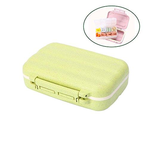 Aolvo 7 Tage Pillendose Pillenbox Aufbewahrung mit 8 Fächern und Dichtung,Wöchentliche Medikamentenbox Tablettendose Vitamin Caddy Tablettenbox Weekly Pille Box Container Pille Fall -