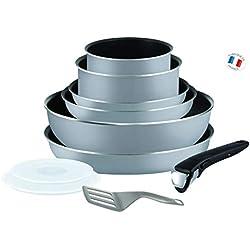 Tefal L2149602 Set de poêles et casseroles - Ingenio 5 Essential Gris Set 10 Pièces - Tous feux sauf induction