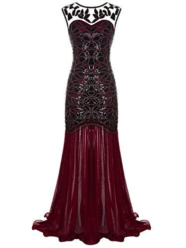 FAIRY COUPLE 1920 Bodenlänge V-Rücken Pailletten verschönert Abschlussball Abend Kleid D20S004(L,Burgunderrot) (Vintage-20er Jahre Kleider)