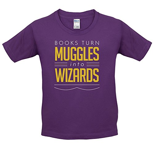 Books Turn Muggles Into Wizzards - Childrens / Kids T-Shirt - 3-14 Years