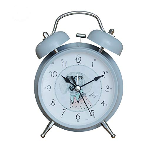 JFKJJY Reloj de Alarma con Doble Campana, Mini Reloj de cabecera, sin luz, con luz Nocturna, Pasador de sincronización, Reloj de Alarma para el hogar Ruidoso a batería - batería no incluida