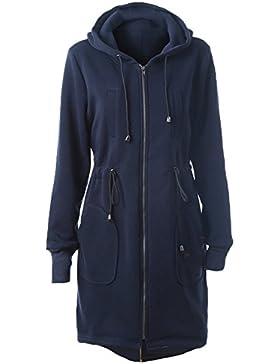 Abrigo Largo Sweatshirt Capa - Chaqueta Larga Otoño Invierno Outfit Cremallera Outerwear Capucha Negro Azul Café...