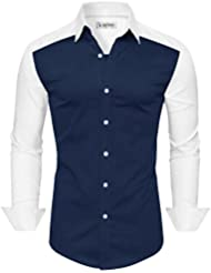 Tom's Ware Chemise-Manches Longues Bouton Colorblocked Bas-Hommes