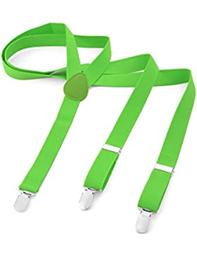 Long bretelle per uomo donna pantaloni bretelle Y Forma Style 3Clips elastico sottile tinta unita colore