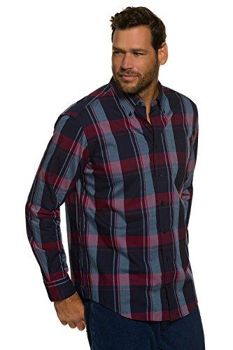 JP1880 Herren große Größen Hemd | Karo-Muster, Oxford | Buttondown-Kragen & lange Knopfleiste | Brusttasche, Langarm | schmal geschnitten, Baumwolle | bis Größe 7XL 705688 Navy