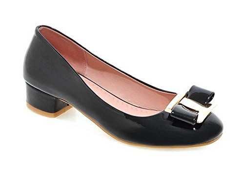 Bout Rond En Cuir Verni Avec Des Chaussures À Talons Bouche Peu Profonde Occasionnels Court Confortable Pour Aider Les Chaussures Des Femmes Noires