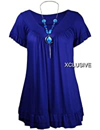 nouvelles dames plus la taille collier tziganes dessus des femmes tunique courte hauts à manches