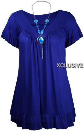 neue Damen plus size Frauen Halskette Zigeuner Tops Tunika Hülsenoberseiten Royal Blue