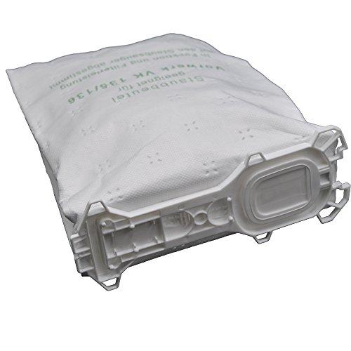 12 Staubsaugerbeutel aus Vlies passend für Vorwerk - Kobold 135 / 136 / 135SC / VK135 / VK136 (Wei)