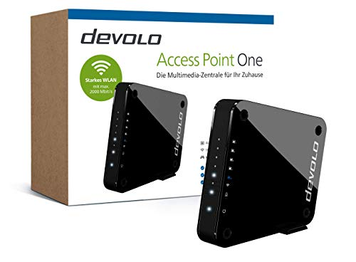"devolo Access Point One Multimedia Allrounder ""WLAN Monster\"" (WLAN AC bis 1733 Mbit/s, 1x Highspeed Gigabit-Port, 4X Ethernet Ports), schwarz"