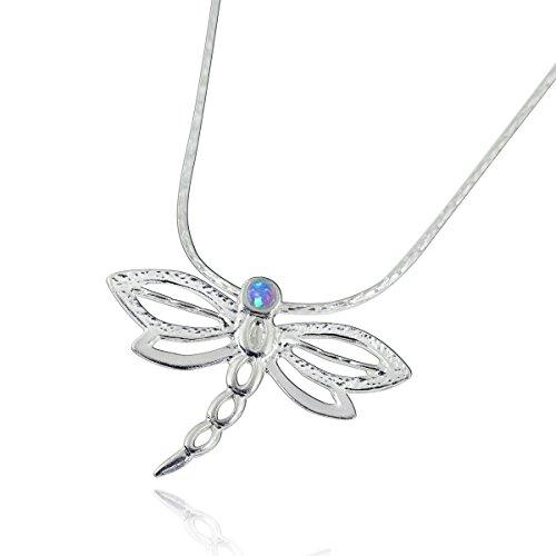 Stera Jewelry Collar con Colgante de libélula de Plata de Ley 925 con Piedra de ópalo de Fuego Azul de 2 mm, Extensor de 18 Pulgadas + 4 Pulgadas