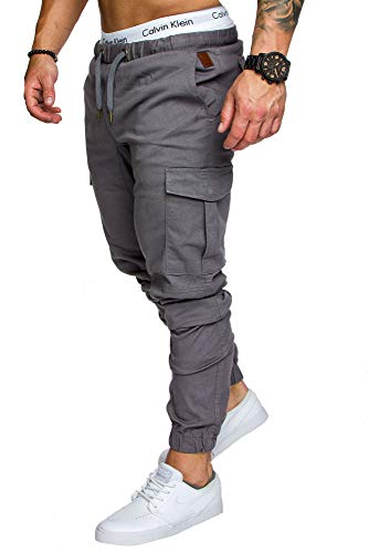 Amaci&Sons Jogger Cargo Herren Chino Jeans Hose 7001 Dunkelgrau W31