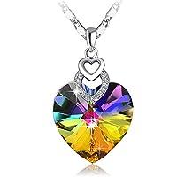 PLATO H Brave Heart Rainbow Color Pendant Necklace with Swarovski Crystal Love Heart Necklace, Heart Shape Neckalce, Woman Girls Fashion Pendant Necklace, Jewelry Necklace Gifts for Woman Girls