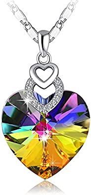PLATO H Brave Heart Rainbow Color Pendant Necklace with Swarovski Crystal Love Heart Necklace, Heart Shape Nec