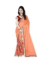 Airson Fab Orange Flower Designer Saree