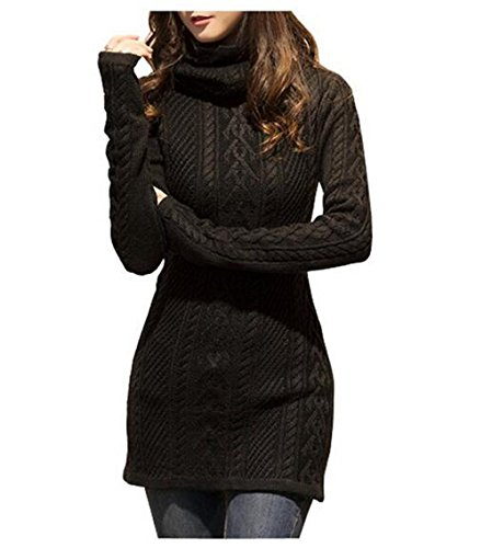 Women Polo Neck Knit Stretchable Elasticity Long Sleeve Slim Sweater Jumper (Double-knit Womens)