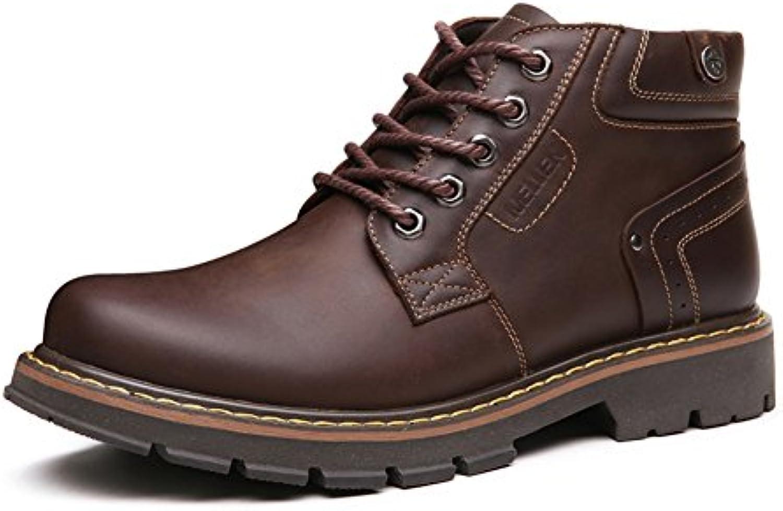 Men's Leder Freizeit Sehnen Schuhe Dress Herbst Und Winter Business Halten Sie Warm Dick Rutschen Schwarzbraun