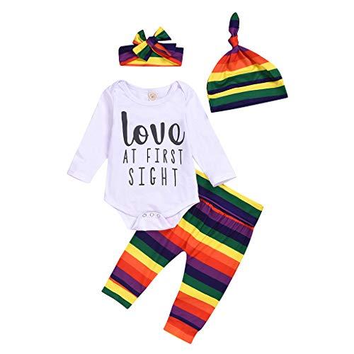 DIASTR Geburtstags Kleidung Baby Junge 1 Jahr Baby Kleidung 4-teiliges Geschenkset Strampler T-Shirt Tops Streifen+ Regenbogen Hose Kleinkind Haarband + Hut Outfits Set(3-12 Monate)