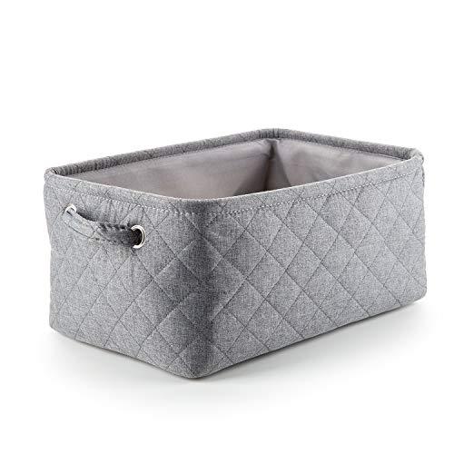 Mee'life cesto portaoggetti pieghevole in tessuto di tweed di cotone scatole di immagazzinaggio con maniglie, per l'organizzazione di armadi vestiti vivaio (m-grigio)