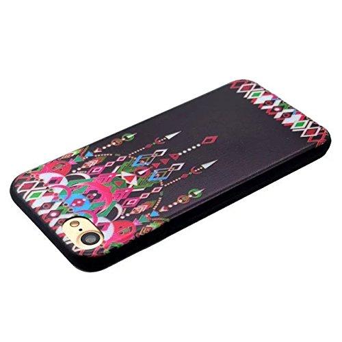 Etsue Silikon Schutz HandyHülle für iPhone 6S/iPhone 6 (4.7 Zoll) TPU Hülle in Schwarz, Einzigartig Muster Silikon Case Handytasche Ultradünnen Weiche Kratzfeste Handyhülle Zurück Hülle Bumper Etui Sc Bunte Anhänger