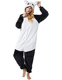 Kigurumi Pijama Disfraz de Animal Traje de Dormir para Adultos Unisex - Cosplay, Carnaval o Halloween - Panda Costume Negro - Blanco con Capucha XL