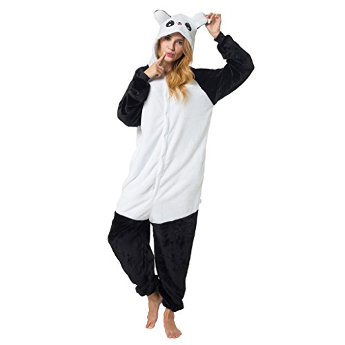 Katara Karnevals-Kostüm Panda schwarz, Verkleidung zum Fasching, Sleepsuit, Onesie, Schlafanzug, Hausanzug, Jogginganzug, Cosplay, Tierkostüm für Jugendliche und ()