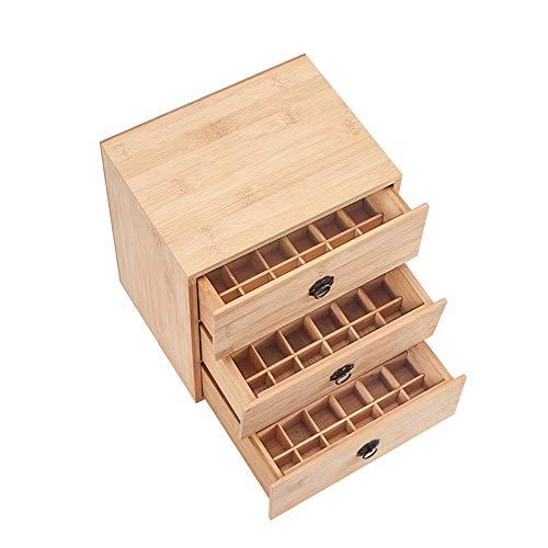 Yamyannie- 90 Slot Holz Essential Oil Box 3 Tier 15/10/5 ml Flaschen natürlicher Bambus (Farbe : Natural, Größe : 24.5X20X26CM)