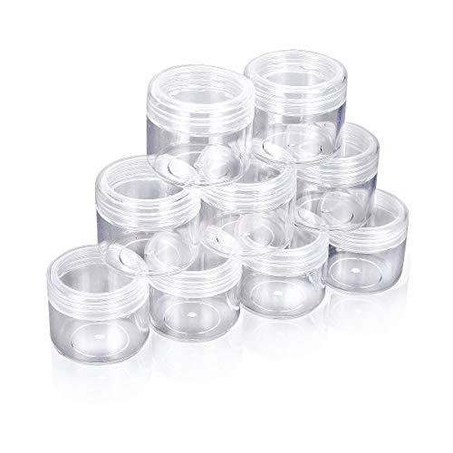 HugeStore 10 Stück 20 Gramm Klar Leer Kunststoff Nailart Döschen Dosen Aufbewahrung Tiegel Kosmetische Behälter mit Schraubverschluss Klar -