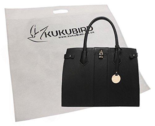 Tess Su Semplice Contrasto Pannello Design Tote Bag Con Sacchetto Raccoglipolvere Su Black
