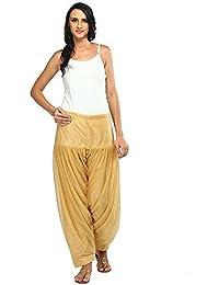 Fashion Guru Trading Women's Solid Net Fancy Patiala Readymade Bottom Salwar Beige Free Size