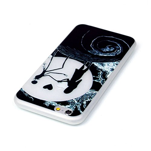 SainCat Coque Housse iPhone 6, Souple Coque Etui en Silicone, iPhone 6S Silicone Transparent Case TPU Cover, Etui de Protection Cas en caoutchouc en Ultra Slim Souple Cristal Clair Gel TPU Bumper Cas  nuit fille