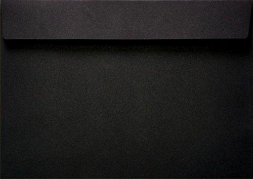 Netuno 100 Schwarze C5 Briefumschläge, 162x229mm, 120g, Burano Nero, gerade Klappe, ohne Fenster, ideal für Geburtstag, Weihnachten, Hochzeit, Einladungen, Grußkarten, Visitenkarten