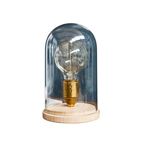 Vintage Tischlampe EDISON im Retro Stil Edison Lampe E27 Holz Glas Glaskuppel Wohnzimmerlampe Glühbirne Tischleuchte Nostalgie -