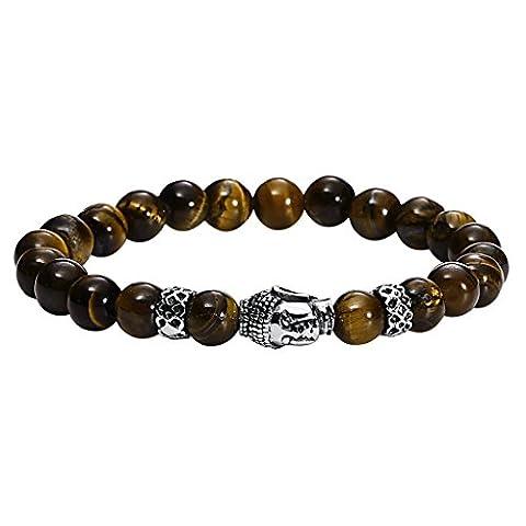 Gnzoe Hommes Acier inoxydable Buddha Beads Brun Bracelet 22.3x0.8CM