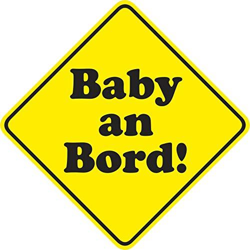 Auto-Magnetschild Baby an Bord neutral I 10 x 10 cm I Magnet-Schild für Kfz I Hinweis-Schild viereckig Raute I magnetisch, wetterfest I kfz_529