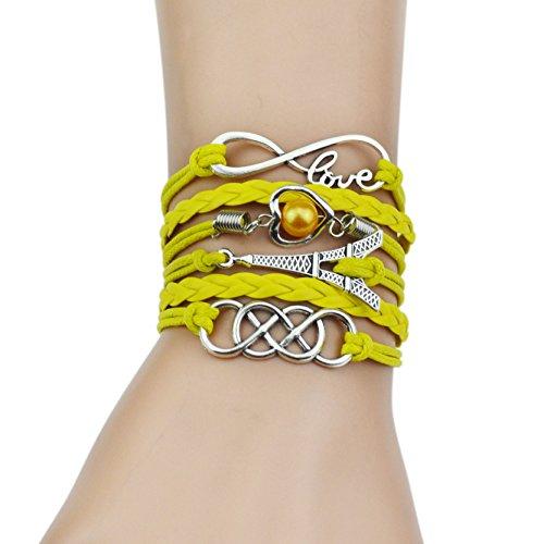 Spedito da ITALIA - Bracciale di corda regolabile TORRE EIFFEL CUORE PERLA colore giallo