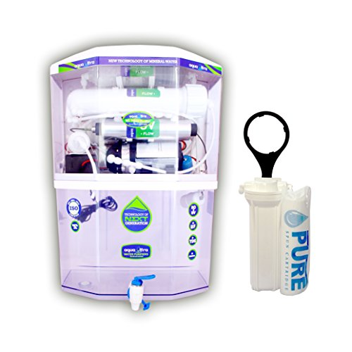 Aquaultra 14Stage15Lph 15L storage Ro+Uv+Uf+Mineral+Tds Controller Water Purifier (Transparant)