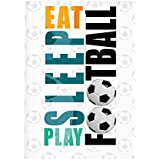 "MOTIVATE BOX India Cool, Trendy, Quirky Posters""Eat Sleep Play Football - Soccer Lovers Design,"" Add Some Quirkiness To Your Walls Rolled Posters Frame Not Included (12 X 18 In)"